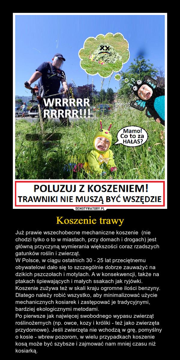 Koszenie trawy – Już prawie wszechobecne mechaniczne koszenie  (nie chodzi tylko o to w miastach, przy domach i drogach) jest główną przyczyną wymierania większości coraz rzadszych gatunków roślin i zwierząt. W Polsce, w ciągu ostatnich 30 - 25 lat przeciętnemu obywatelowi dało się to szczególnie dobrze zauważyć na dzikich pszczołach i motylach. A w konsekwencji, także na ptakach śpiewających i małych ssakach jak ryjówki.Koszenie zużywa też w skali kraju ogromne ilości benzyny.Dlatego należy robić wszystko, aby minimalizować użycie mechanicznych kosiarek i zastępować je tradycyjnymi, bardziej ekologicznymi metodami. Po pierwsze jak najwięcej swobodnego wypasu zwierząt roślinożernych (np. owce, kozy i króliki - też jako zwierzęta przydomowe). Jeśli zwierzęta nie wchodzą w grę, pomyślny o kosie - wbrew pozorom, w wielu przypadkach koszenie kosą może być szybsze i zajmować nam mniej czasu niż kosiarką.