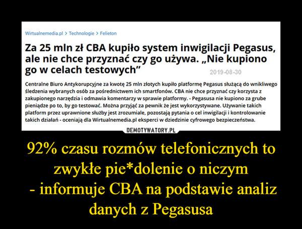 """92% czasu rozmów telefonicznych to zwykłe pie*dolenie o niczym - informuje CBA na podstawie analiz danych z Pegasusa –  Wirtualnemedia.pl > Technologie > FelietonZa 25 mln zł CBA kupiło system inwigilacji Pegasus,ale nie chce przyznać czy go używa. """"Nie kupionogo w celach testowych""""2019-08-30Centralne Biuro Antykorupcyjne za kwotę 25 mln złotych kupiło platformę Pegasus służącą do wnikliwegośledzenia wybranych osób za pośrednictwem ich smartfonów. CBA nie chce przyznać czy korzysta zzakupionego narzędzia i odmawia komentarzy w sprawie platformy. - Pegasusa nie kupiono za grubepieniądze po to, by go testować. Można przyjąć za pewnik że jest wykorzystywane. Używanie takichplatform przez uprawnione służby jest zrozumiale, pozostają pytania o cel inwigilacji i kontrolowanietakich działań - oceniają dla Wirtualnemedia.pl eksperci w dziedzinie cyfrowego bezpieczeństwa."""