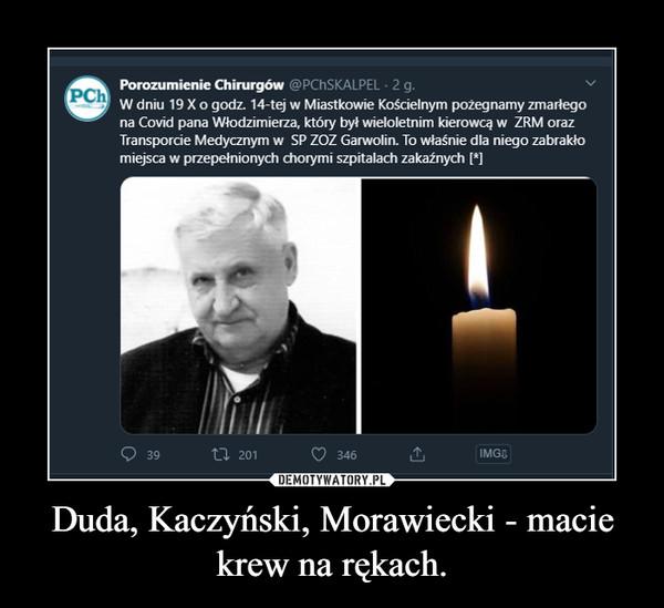 Duda, Kaczyński, Morawiecki - macie krew na rękach. –