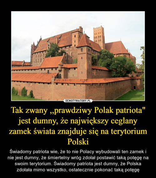 """Tak zwany ,,prawdziwy Polak patriota"""" jest dumny, że największy ceglany zamek świata znajduje się na terytorium Polski"""