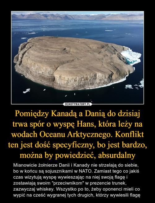 Pomiędzy Kanadą a Danią do dzisiaj trwa spór o wyspę Hans, która leży na wodach Oceanu Arktycznego. Konflikt ten jest dość specyficzny, bo jest bardzo, można by powiedzieć, absurdalny