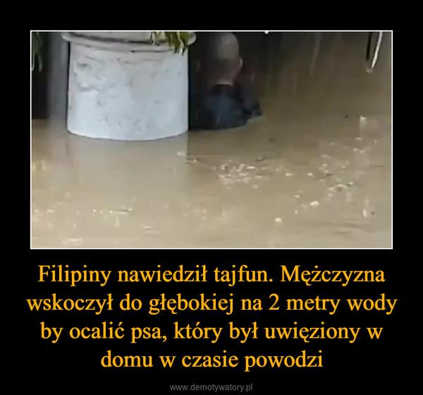 Filipiny nawiedził tajfun. Mężczyzna wskoczył do głębokiej na 2 metry wody by ocalić psa, który był uwięziony w domu w czasie powodzi –