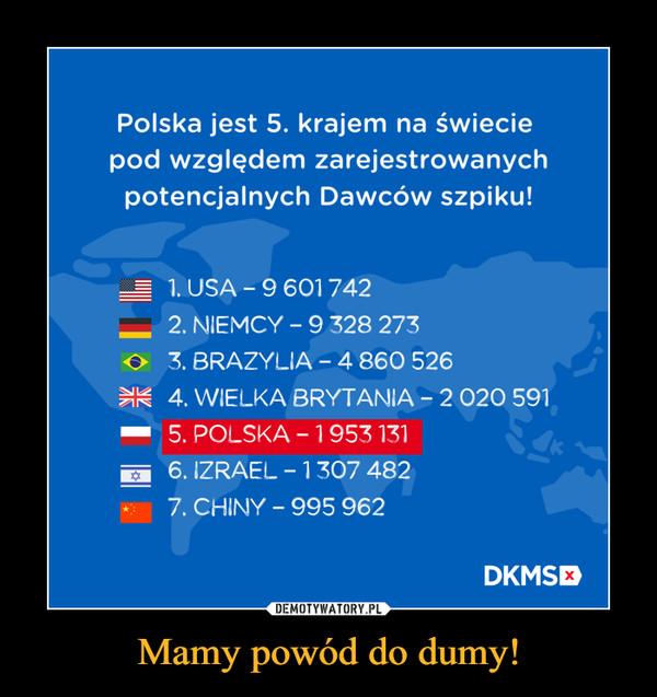 Mamy powód do dumy! –  Polska jest 5. krajem na świecie pod względem zarejestrowanych potencjalnych Dawców szpiku!