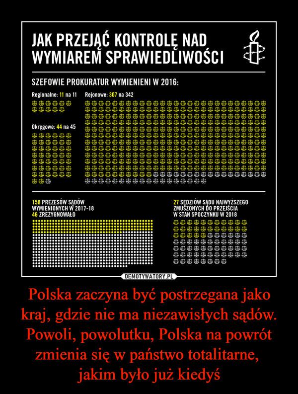 Polska zaczyna być postrzegana jako kraj, gdzie nie ma niezawisłych sądów. Powoli, powolutku, Polska na powrót zmienia się w państwo totalitarne, jakim było już kiedyś –  JAK PRZEJĄĆ KONTROLĘ NADWYMIAREM SPRAWIEDLIWOŚCISZEFOWIE PROKURATUR WYMIENIENI W 2016: