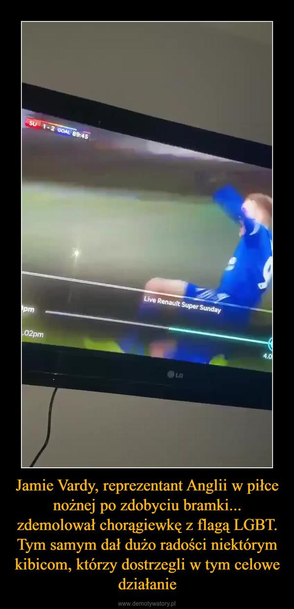 Jamie Vardy, reprezentant Anglii w piłce nożnej po zdobyciu bramki... zdemolował chorągiewkę z flagą LGBT. Tym samym dał dużo radości niektórym kibicom, którzy dostrzegli w tym celowe działanie –