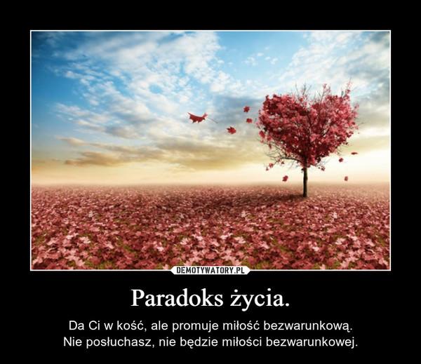 Paradoks życia. – DaCi w kość, ale promuje miłość bezwarunkową.Nie posłuchasz, nie będzie miłości bezwarunkowej.
