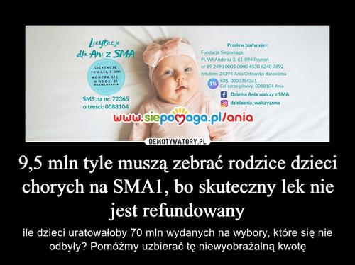 9,5 mln tyle muszą zebrać rodzice dzieci chorych na SMA1, bo skuteczny lek nie jest refundowany