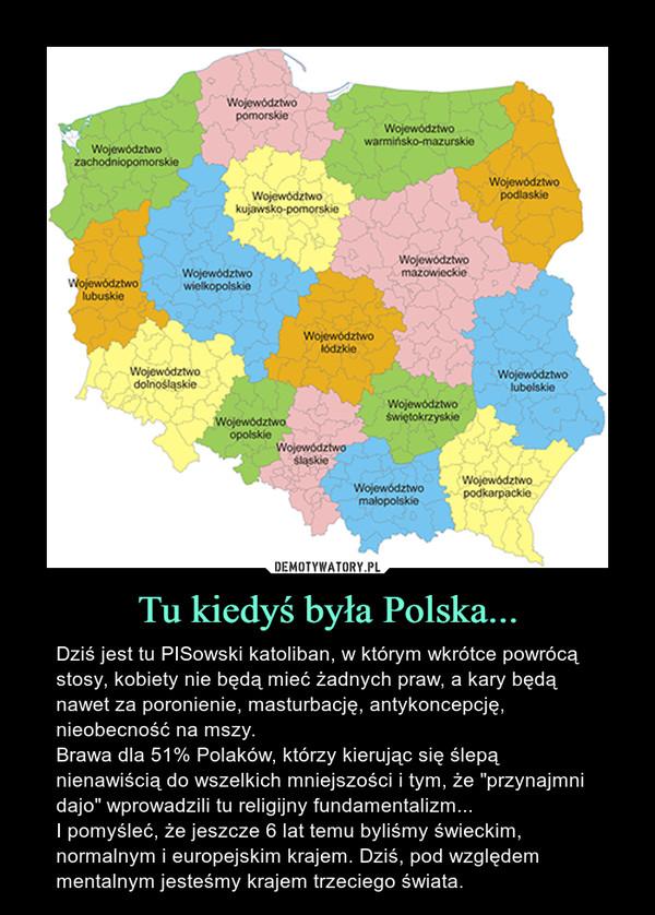 """Tu kiedyś była Polska... – Dziś jest tu PISowski katoliban, w którym wkrótce powrócą stosy, kobiety nie będą mieć żadnych praw, a kary będą nawet za poronienie, masturbację, antykoncepcję, nieobecność na mszy. Brawa dla 51% Polaków, którzy kierując się ślepą nienawiścią do wszelkich mniejszości i tym, że """"przynajmni dajo"""" wprowadzili tu religijny fundamentalizm... I pomyśleć, że jeszcze 6 lat temu byliśmy świeckim, normalnym i europejskim krajem. Dziś, pod względem mentalnym jesteśmy krajem trzeciego świata."""