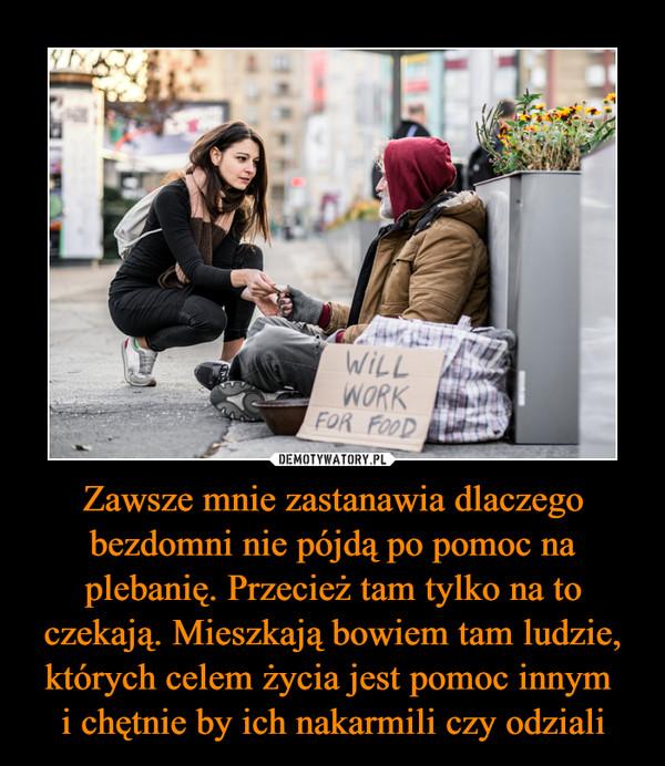 Zawsze mnie zastanawia dlaczego bezdomni nie pójdą po pomoc na plebanię. Przecież tam tylko na to czekają. Mieszkają bowiem tam ludzie, których celem życia jest pomoc innym i chętnie by ich nakarmili czy odziali –