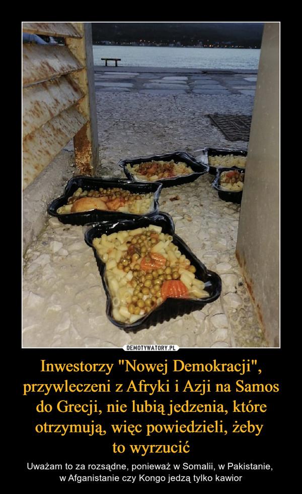 """Inwestorzy """"Nowej Demokracji"""", przywleczeni z Afryki i Azji na Samos do Grecji, nie lubią jedzenia, które otrzymują, więc powiedzieli, żeby to wyrzucić – Uważam to za rozsądne, ponieważ w Somalii, w Pakistanie, w Afganistanie czy Kongo jedzą tylko kawior"""