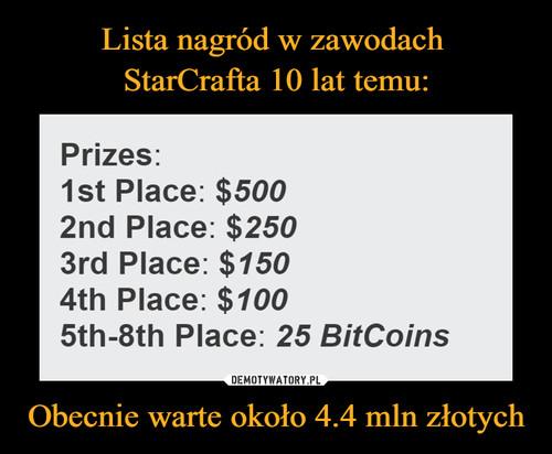 Lista nagród w zawodach  StarCrafta 10 lat temu: Obecnie warte około 4.4 mln złotych