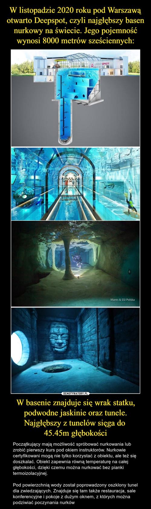 W listopadzie 2020 roku pod Warszawą otwarto Deepspot, czyli najgłębszy basen nurkowy na świecie. Jego pojemność wynosi 8000 metrów sześciennych: W basenie znajduje się wrak statku, podwodne jaskinie oraz tunele. Najgłębszy z tunelów sięga do  45.45m głębokości
