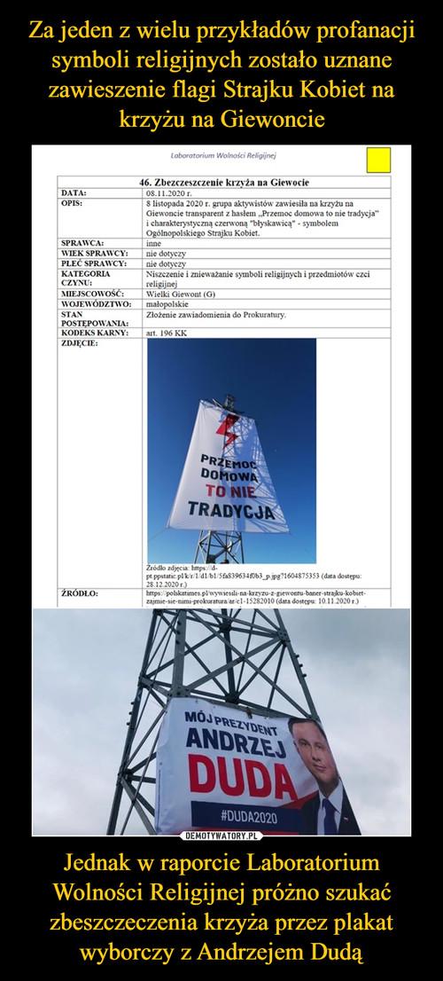 Za jeden z wielu przykładów profanacji symboli religijnych zostało uznane zawieszenie flagi Strajku Kobiet na krzyżu na Giewoncie Jednak w raporcie Laboratorium Wolności Religijnej próżno szukać zbeszczeczenia krzyża przez plakat wyborczy z Andrzejem Dudą