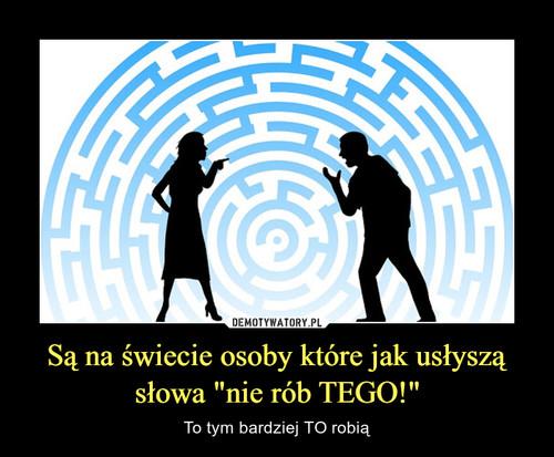 """Są na świecie osoby które jak usłyszą słowa """"nie rób TEGO!"""""""