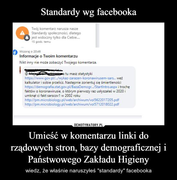 """Umieść w komentarzu linki do rządowych stron, bazy demograficznej i Państwowego Zakładu Higieny – wiedz, że właśnie naruszyłeś """"standardy"""" facebooka"""
