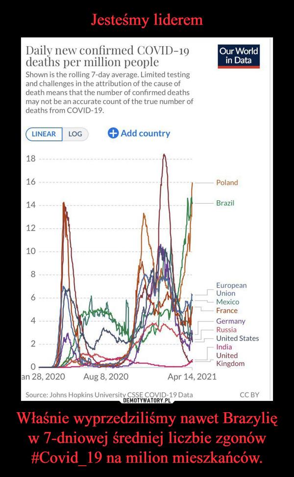 Właśnie wyprzedziliśmy nawet Brazylię w 7-dniowej średniej liczbie zgonów #Covid_19 na milion mieszkańców. –