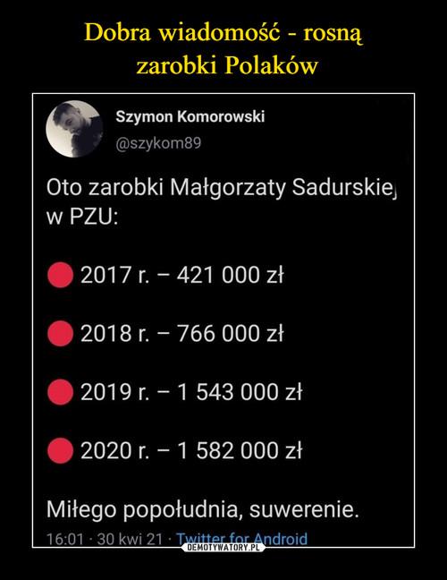 Dobra wiadomość - rosną  zarobki Polaków