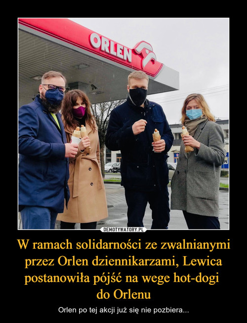 W ramach solidarności ze zwalnianymi przez Orlen dziennikarzami, Lewica postanowiła pójść na wege hot-dogi  do Orlenu