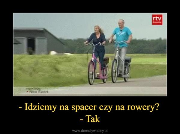 - Idziemy na spacer czy na rowery? - Tak –