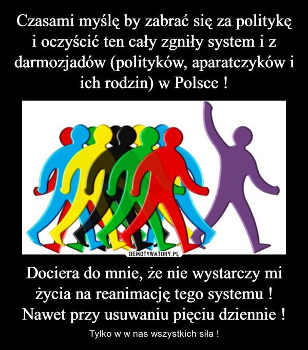 Dociera do mnie, że nie wystarczy mi życia na reanimację tego systemu ! Nawet przy usuwaniu pięciu dziennie ! – Tylko w w nas wszystkich siła !