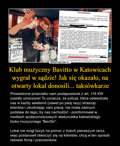 Klub muzyczny Bavitto w Katowicach wygrał w sądzie! Jak się okazało, na otwarty lokal donosili... taksówkarze