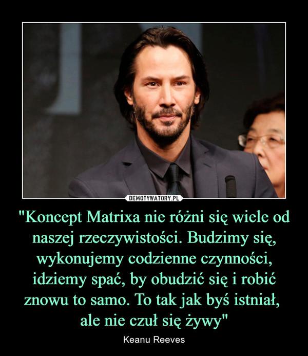 """""""Koncept Matrixa nie różni się wiele od naszej rzeczywistości. Budzimy się, wykonujemy codzienne czynności, idziemy spać, by obudzić się i robić znowu to samo. To tak jak byś istniał, ale nie czuł się żywy"""" – Keanu Reeves"""