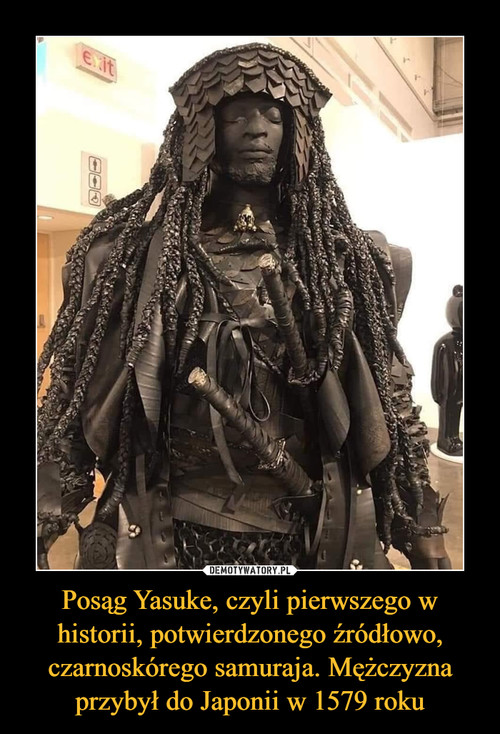 Posąg Yasuke, czyli pierwszego w historii, potwierdzonego źródłowo, czarnoskórego samuraja. Mężczyzna przybył do Japonii w 1579 roku