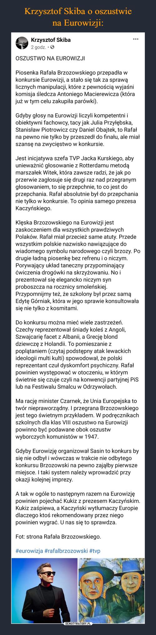 Krzysztof Skiba o oszustwie na Eurowizji: