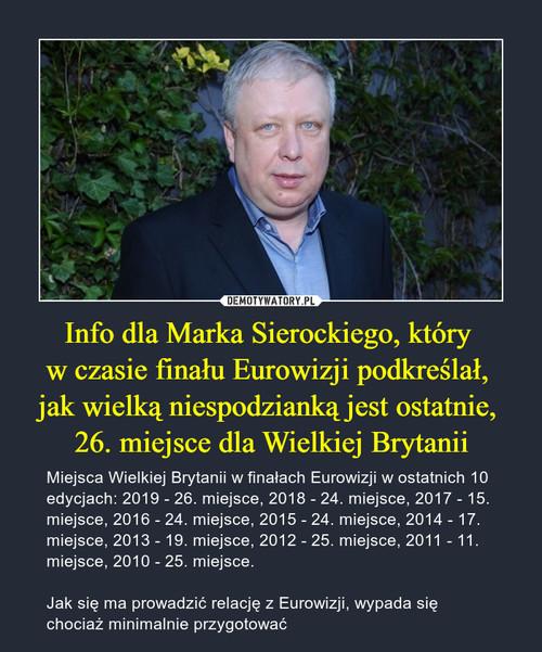 Info dla Marka Sierockiego, który  w czasie finału Eurowizji podkreślał,  jak wielką niespodzianką jest ostatnie,  26. miejsce dla Wielkiej Brytanii