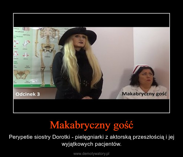 Makabryczny gość – Perypetie siostry Dorotki - pielęgniarki z aktorską przeszłością i jej wyjątkowych pacjentów.