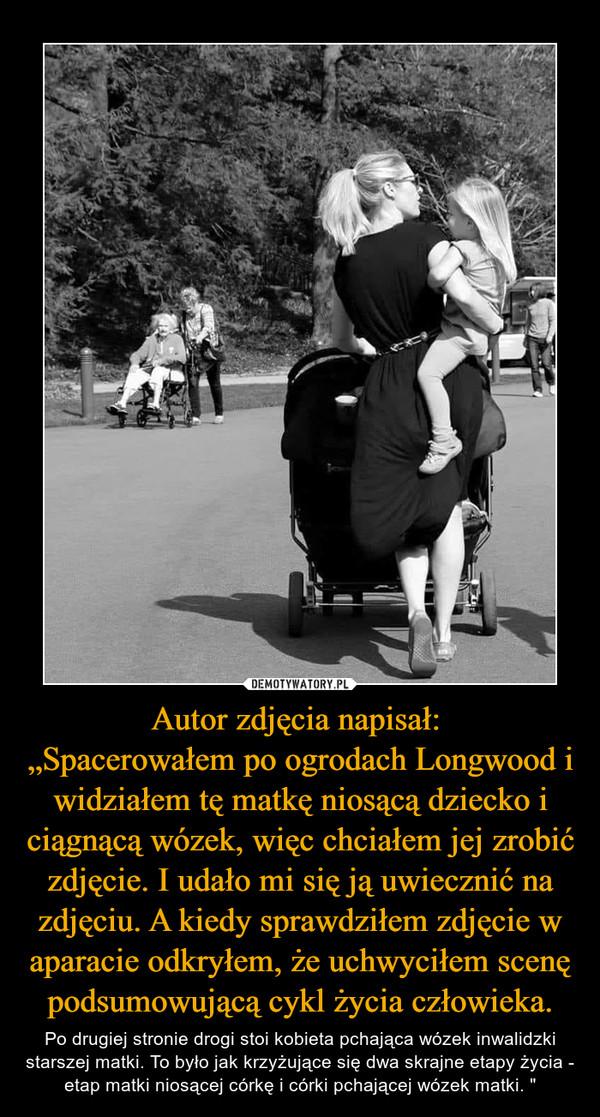 """Autor zdjęcia napisał: """"Spacerowałem po ogrodach Longwood i widziałem tę matkę niosącą dziecko i ciągnącą wózek, więc chciałem jej zrobić zdjęcie. I udało mi się ją uwiecznić na zdjęciu. A kiedy sprawdziłem zdjęcie w aparacie odkryłem, że uchwyciłem scenę podsumowującą cykl życia człowieka. – Po drugiej stronie drogi stoi kobieta pchająca wózek inwalidzki starszej matki. To było jak krzyżujące się dwa skrajne etapy życia - etap matki niosącej córkę i córki pchającej wózek matki. """""""