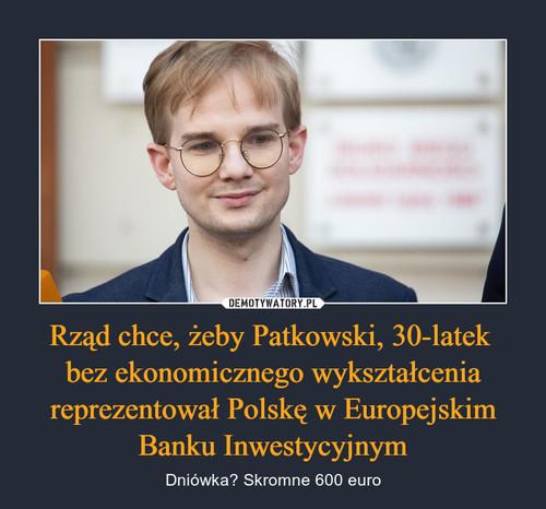 Rząd chce, żeby Patkowski, 30-latek  bez ekonomicznego wykształcenia reprezentował Polskę w Europejskim Banku Inwestycyjnym