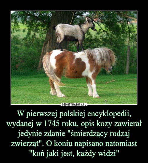 """W pierwszej polskiej encyklopedii, wydanej w 1745 roku, opis kozy zawierał jedynie zdanie """"śmierdzący rodzaj zwierząt"""". O koniu napisano natomiast """"koń jaki jest, każdy widzi"""""""