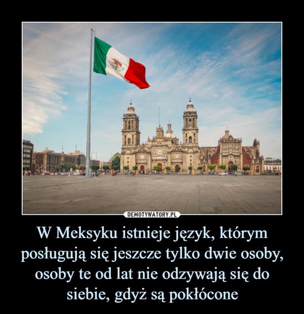 W Meksyku istnieje język, którym posługują się jeszcze tylko dwie osoby, osoby te od lat nie odzywają się do siebie, gdyż są pokłócone –
