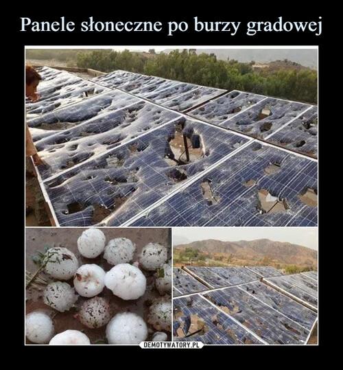 Panele słoneczne po burzy gradowej