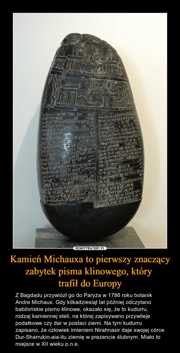 Kamień Michauxa to pierwszy znaczący zabytek pisma klinowego, który trafił do Europy – Z Bagdadu przywiózł go do Paryża w 1786 roku botanik Andre Michaux. Gdy kilkadziesiąt lat później odczytano babilońskie pismo klinowe, okazało się, że to kudurru, rodzaj kamiennej steli, na której zapisywano przywileje podatkowe czy dar w postaci ziemi. Na tym kudurru zapisano, że człowiek imieniem Nirahnasir daje swojej córce Dur-Sharrukin-aia-itu ziemię w prezencie ślubnym. Miało to miejsce w XII wieku p.n.e.