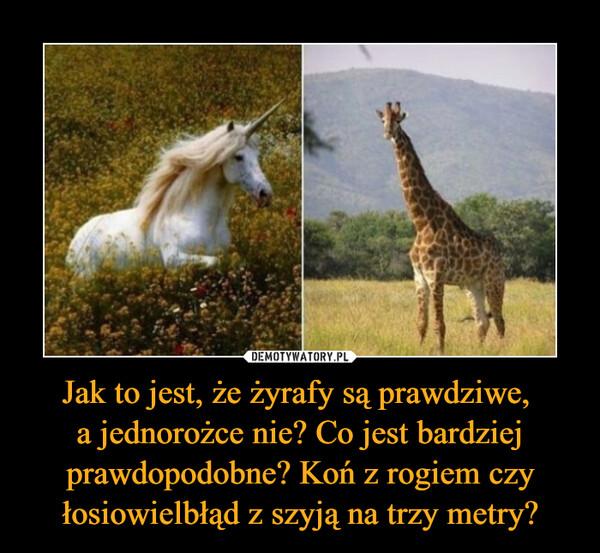 Jak to jest, że żyrafy są prawdziwe, a jednorożce nie? Co jest bardziej prawdopodobne? Koń z rogiem czy łosiowielbłąd z szyją na trzy metry? –
