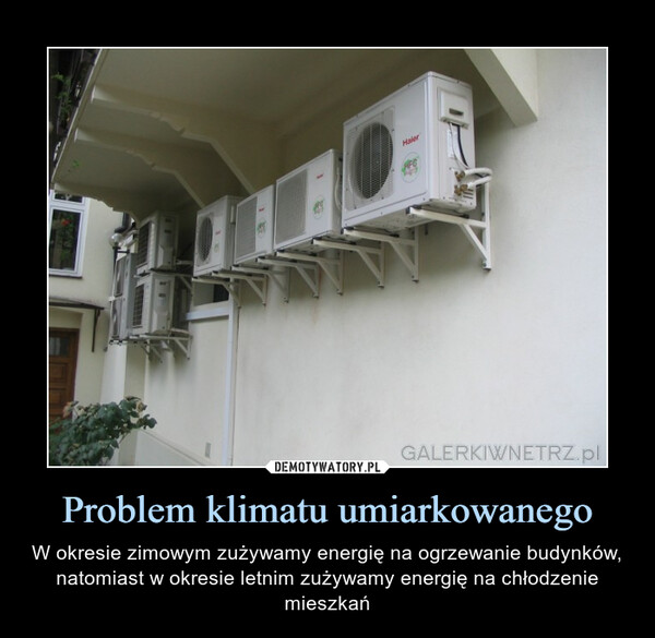 Problem klimatu umiarkowanego – W okresie zimowym zużywamy energię na ogrzewanie budynków, natomiast w okresie letnim zużywamy energię na chłodzenie mieszkań