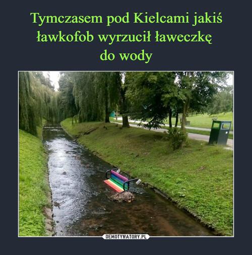 Tymczasem pod Kielcami jakiś ławkofob wyrzucił ławeczkę  do wody
