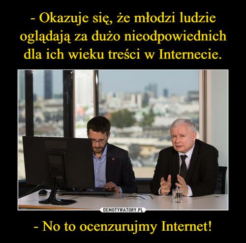 - Okazuje się, że młodzi ludzie oglądają za dużo nieodpowiednich dla ich wieku treści w Internecie. - No to ocenzurujmy Internet!