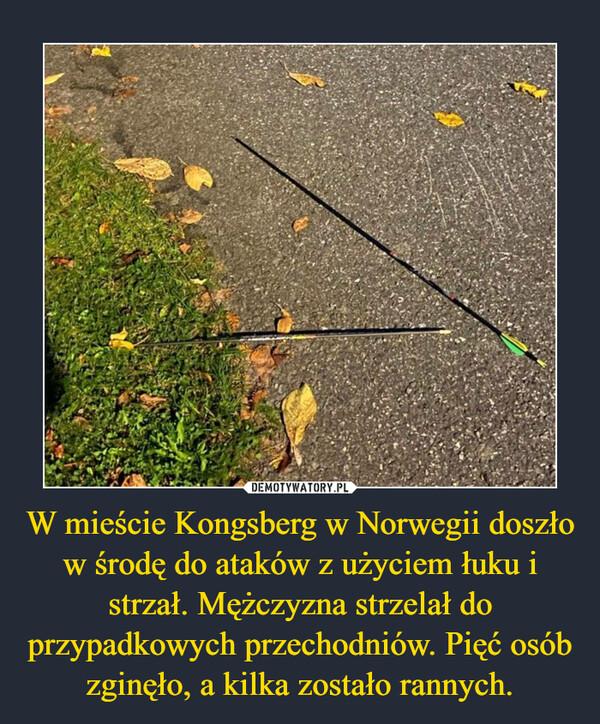 W mieście Kongsberg w Norwegii doszło w środę do ataków z użyciem łuku i strzał. Mężczyzna strzelał do przypadkowych przechodniów. Pięć osób zginęło, a kilka zostało rannych. –