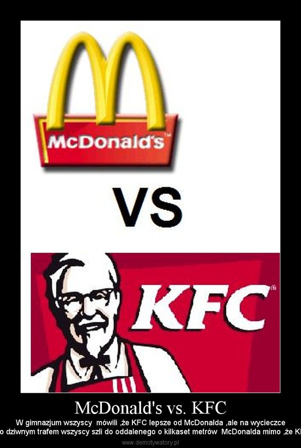 mcdonalds vs kfc Mcdonald's vs kfc mcdonald's and kfc are two of the most popular fast food chains loved by many around the world when it comes to hamburgers, mcdonald's is always the top option whereas when it comes to fried chicken, kfc is always the first thing that springs to mind.